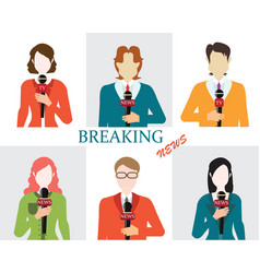 journalism male and female reporters holding vector image vector image