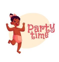 Little african baby girl dancing happily party vector