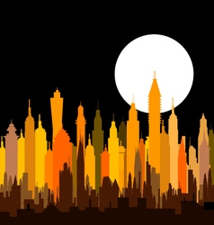 Morden night city skyline - vector