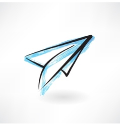 Paper airplane grunge icon vector