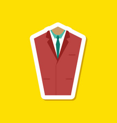 paper sticker on stylish background mans jacket vector image