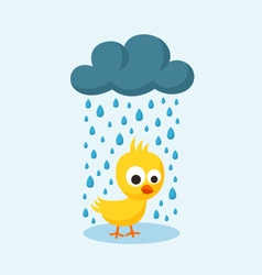Sad chick in the rain on friday the 13th vector