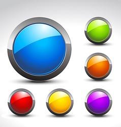 shiny button set vector image