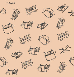 sushi concept icons pattern vector image vector image