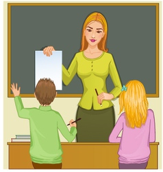 Teacher and children at blackboard eps10 vector image