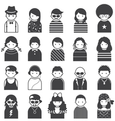 Various People Symbol Icons Teenager Set vector image