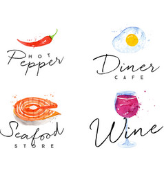 Watercolor label seafood vector