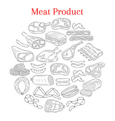 With different kinds of meat vector