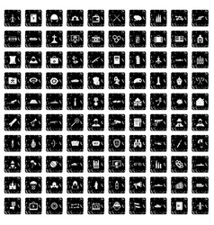 100 military icons set grunge style vector