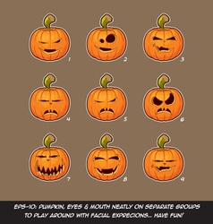 Jack o lantern cartoon 9 vampire expressions set vector