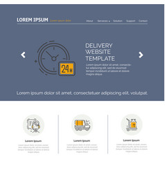moving and delivery template with line icons vector image