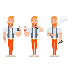 Vape smoking geek hipster casual character icon vector
