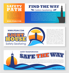 Sea transportation safety banner with lighthouse vector