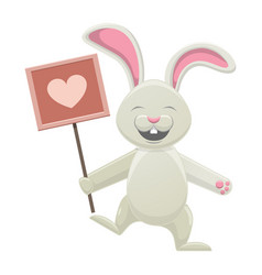 Smiling white bunny holding poster with heart vector