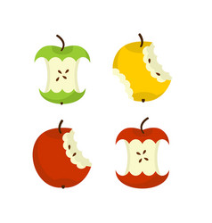 Apple core set fruit trash rubbish on white vector