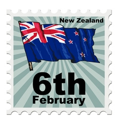 Post stamp of national day of new zealand vector
