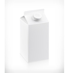 White cardboard milk package vector
