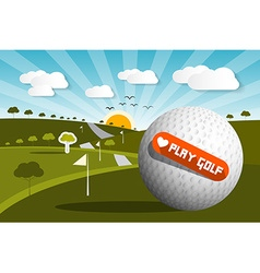 Golf ball on field with sun and sky and love play vector