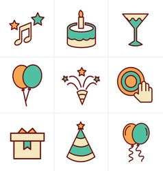 Icons style party icons set design vector