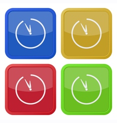 Set of four square icons with clock vector