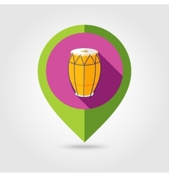 Drum flat mapping pin icon with long shadow vector