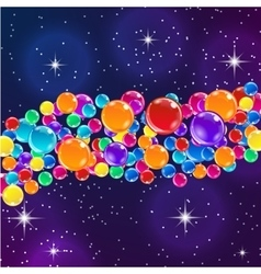Color balloons on starry night background vector