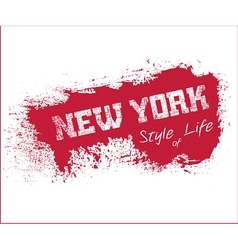 Nyc t-shirt grunge red vector