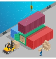 Crane lifts a big container with cargo isometric vector