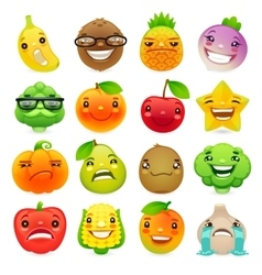 Funny cartoon fruits and vegetables with different vector