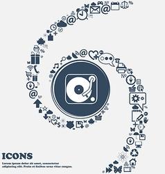 Gramophone vinyl icon sign in the center around vector