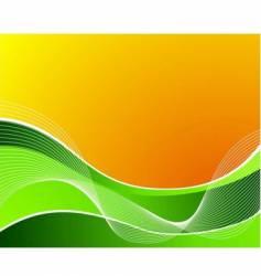 green wave on orange background vector image