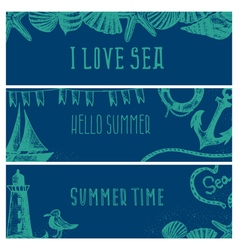 Set of hand drawn sea themed banners vector
