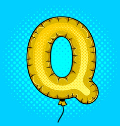 air balloon in shape of letter q pop art vector image vector image