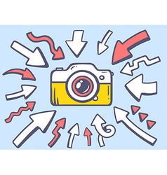 Arrows point to icon of photo camera on g vector
