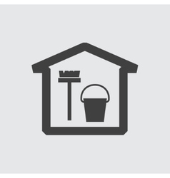 Bucket and mop icon vector image