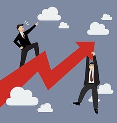 Businessman standing on a growing graph with vector image vector image