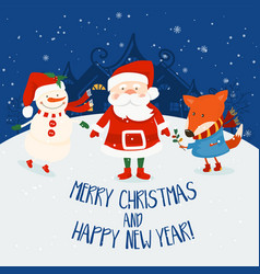 cartoon for holiday theme with santa clausfox and vector image vector image