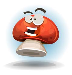 cartoon funny mushroom character vector image