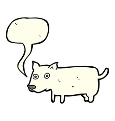Cartoon little dog with speech bubble vector