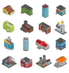 City Buildings Isometric Icons Set vector image