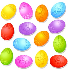 colorful decorative easter eggs vector image