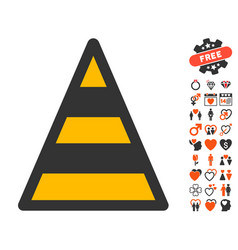 Cone road construction icon with dating bonus vector