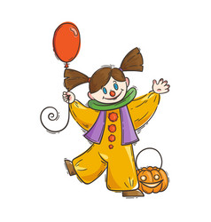 Cute girl in costume of scary clown with balloon vector