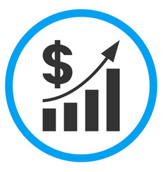 Dollar bar chart trend rounded icon vector