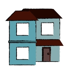 Drawing blue home two floor out windows brown roof vector