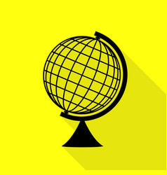 Earth globe sign black icon with flat style vector