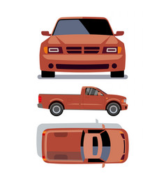 flat-style cars in different views orange vector image