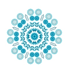 Floral blue round ornament vector
