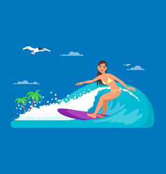girl riding on ocean wave in vector image vector image