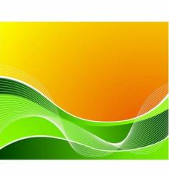 green wave on orange background vector image
